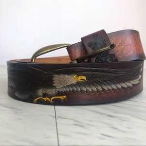 Vintage | Tooled Brown Leather Eagle Belt